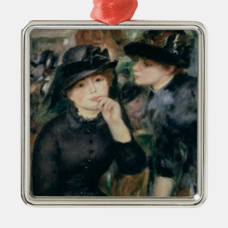 Pierre A Renoir | Girls in Black Silver-Colored Square Decoration