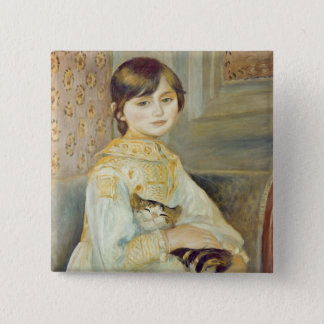 Pierre A Renoir | Julie Manet with Cat 15 Cm Square Badge
