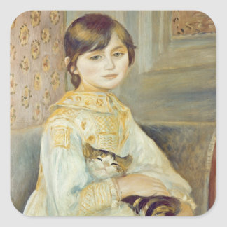 Pierre A Renoir | Julie Manet with Cat Square Sticker