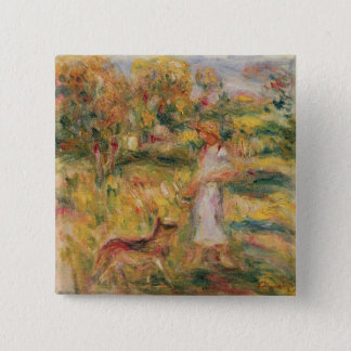 Pierre A Renoir | Landscape with the artist's wife 15 Cm Square Badge