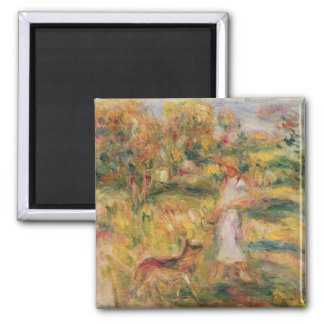 Pierre A Renoir | Landscape with the artist's wife Square Magnet