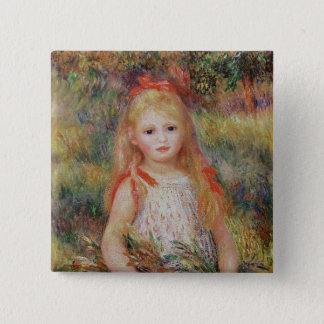 Pierre A Renoir | Little Girl Carrying Flowers 15 Cm Square Badge