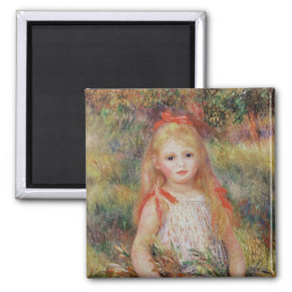 Pierre A Renoir | Little Girl Carrying Flowers Magnet