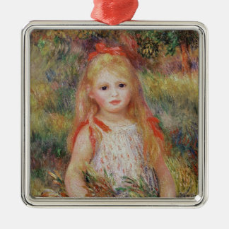 Pierre A Renoir | Little Girl Carrying Flowers Silver-Colored Square Decoration