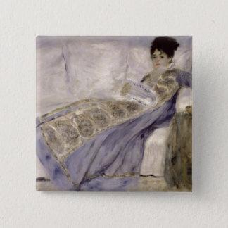 Pierre A Renoir | Madame Monet on a Sofa 15 Cm Square Badge