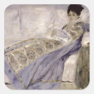 Pierre A Renoir | Madame Monet on a Sofa Square Sticker