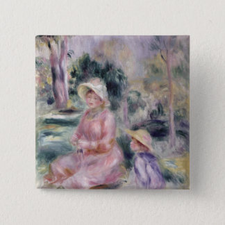 Pierre A Renoir | Madame Renoir and her son Pierre 15 Cm Square Badge