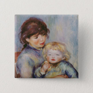 Pierre A Renoir | Maternity, Child with a biscuit 15 Cm Square Badge