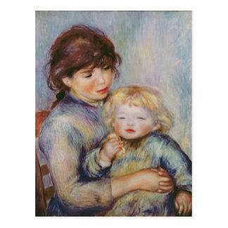 Pierre A Renoir | Maternity, Child with a biscuit Postcard
