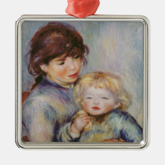 Pierre A Renoir | Maternity, Child with a biscuit Silver-Colored Square Decoration