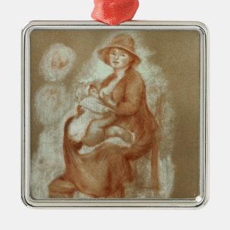 Pierre A Renoir | Maternity Silver-Colored Square Decoration