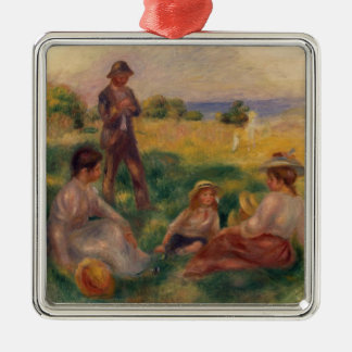 Pierre A Renoir | Party in the Country at Berneval Silver-Colored Square Decoration