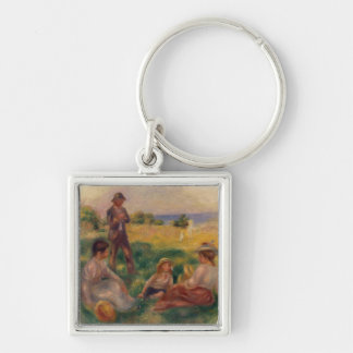 Pierre A Renoir | Party in the Country at Berneval Silver-Colored Square Key Ring
