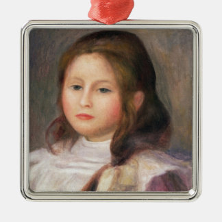 Pierre A Renoir | Portrait of a Child 2 Silver-Colored Square Decoration