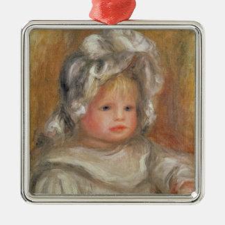 Pierre A Renoir | Portrait of a Child Silver-Colored Square Decoration