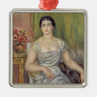 Pierre A Renoir | Portrait of A. Valliere-Merzbach Silver-Colored Square Decoration