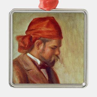 Pierre A Renoir | Portrait of Ambroise Vollard Silver-Colored Square Decoration