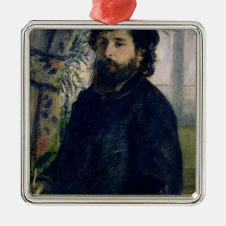 Pierre A Renoir | Portrait of Claude Monet Silver-Colored Square Decoration