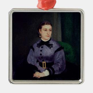 Pierre A Renoir | Portrait of Mademoiselle Sicot Silver-Colored Square Decoration