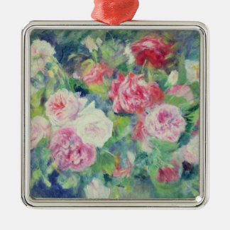 Pierre A Renoir | Roses 2 Silver-Colored Square Decoration