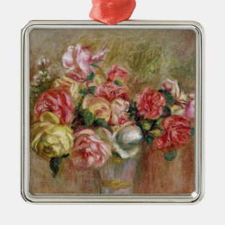Pierre A Renoir | Roses in a Sevres vase Silver-Colored Square Decoration
