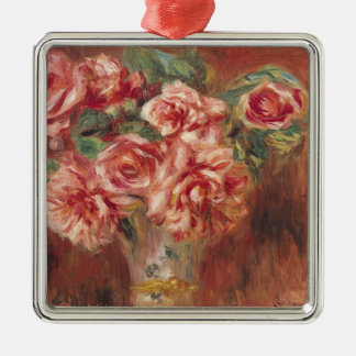 Pierre A Renoir | Roses in a Vase Silver-Colored Square Decoration