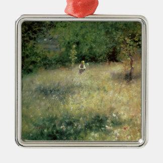 Pierre A Renoir | Spring at Chatou Silver-Colored Square Decoration