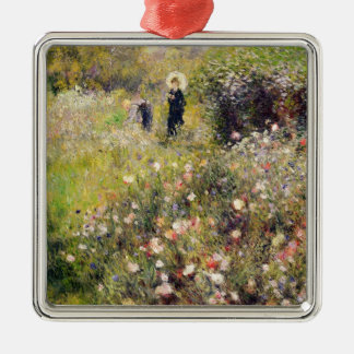 Pierre A Renoir | Summer Landscape Silver-Colored Square Decoration