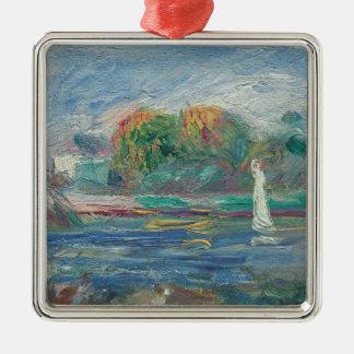Pierre A Renoir | The Blue River Silver-Colored Square Decoration