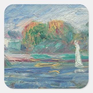 Pierre A Renoir   The Blue River Square Sticker