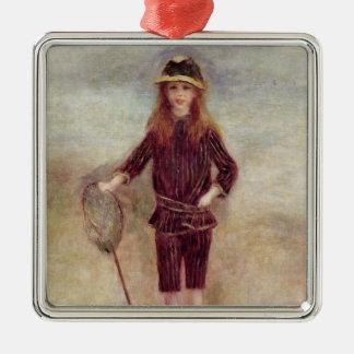Pierre A Renoir | The Little Fisherwoman Silver-Colored Square Decoration
