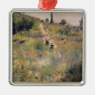 Pierre A Renoir | The Path through the Long Grass Silver-Colored Square Decoration
