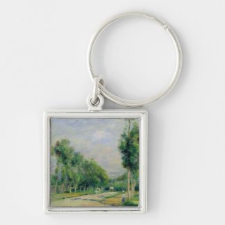 Pierre A Renoir   The Road to Versailles Silver-Colored Square Key Ring