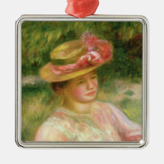 Pierre A Renoir | The Straw Hat Silver-Colored Square Decoration