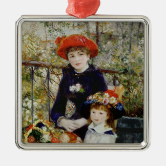 Pierre A Renoir | Two Sisters, or On The Terrace Silver-Colored Square Decoration