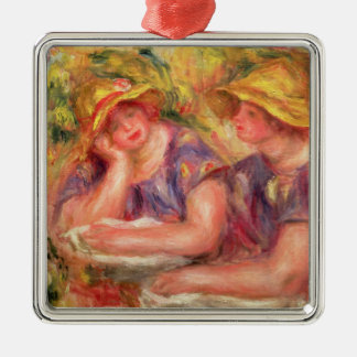 Pierre A Renoir | Two women in blue blouses Silver-Colored Square Decoration