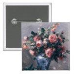 Pierre A Renoir | Vase of Roses 15 Cm Square Badge