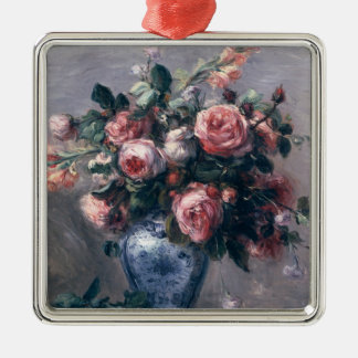 Pierre A Renoir | Vase of Roses Silver-Colored Square Decoration