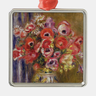 Pierre A Renoir | Vase of Tulips and Anemones Silver-Colored Square Decoration