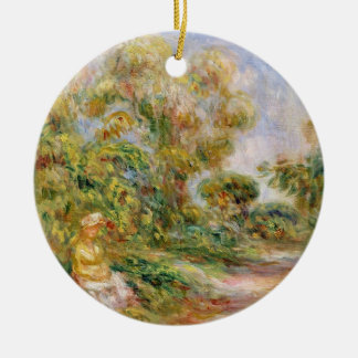 Pierre A Renoir | Woman in a Landscape Round Ceramic Decoration