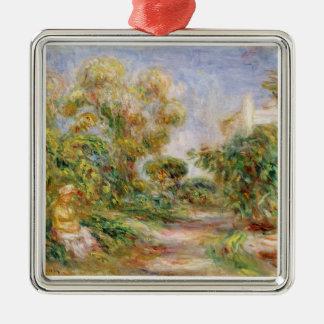 Pierre A Renoir | Woman in a Landscape Silver-Colored Square Decoration