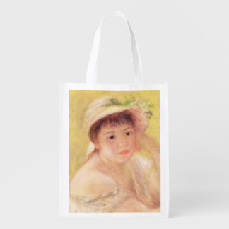 Pierre A Renoir | Woman in a Straw Hat Reusable Grocery Bag