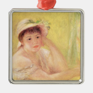 Pierre A Renoir | Woman in a Straw Hat Silver-Colored Square Decoration