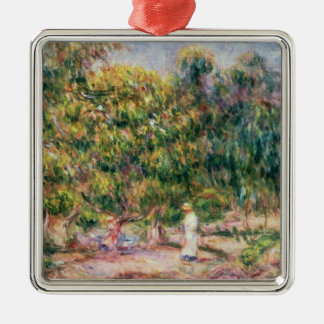 Pierre A Renoir | Woman in Garden of Les Colettes Silver-Colored Square Decoration