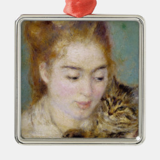 Pierre A Renoir | Woman with a Cat Silver-Colored Square Decoration