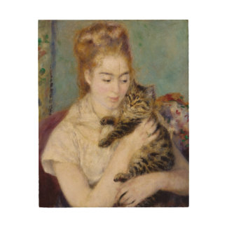Pierre A Renoir   Woman with a Cat Wood Wall Decor