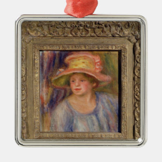 Pierre A Renoir | Woman with a Hat Silver-Colored Square Decoration