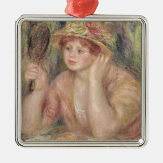 Pierre A Renoir | Woman with a Mirror Silver-Colored Square Decoration