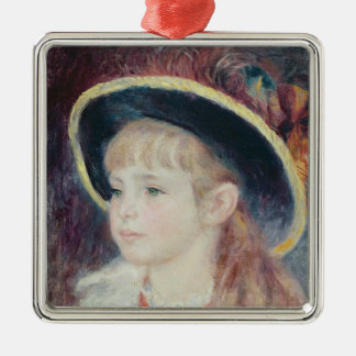Pierre A Renoir | Young Girl in a Blue Hat Silver-Colored Square Decoration