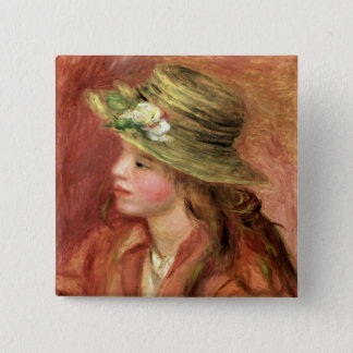 Pierre A Renoir | Young Girl in a Straw Hat 15 Cm Square Badge